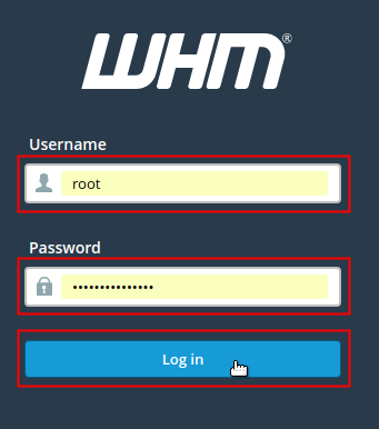 WHM Username and Password fields and Login button highlighted