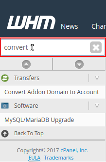 WHM Search field contains convert