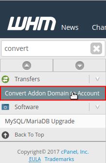 Convert Addon Domain to Account menu option selected