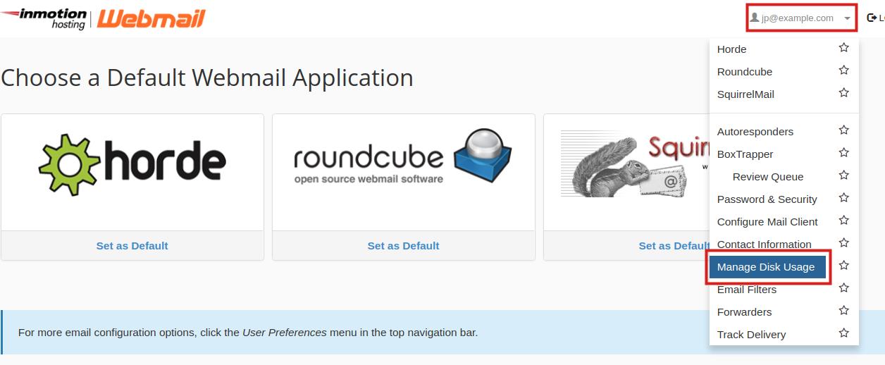 email webmail manage disk usage webmail