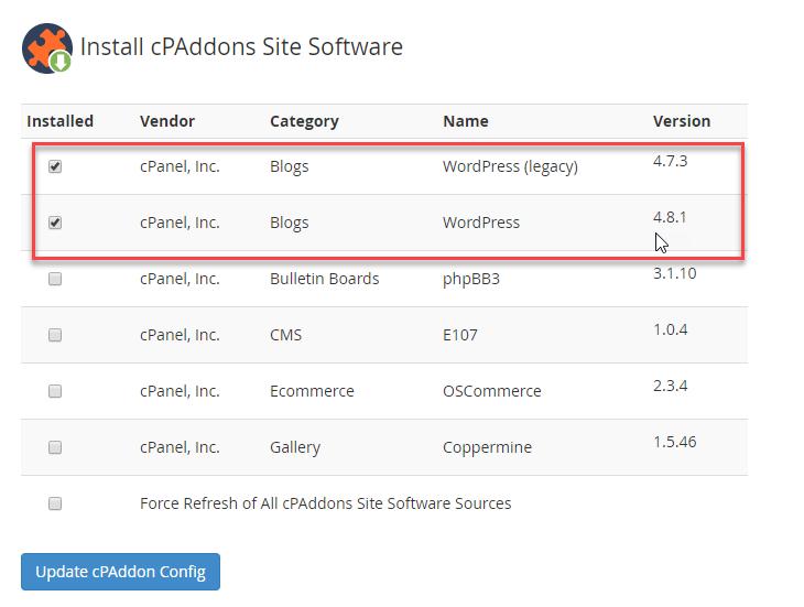 Select WordPress options