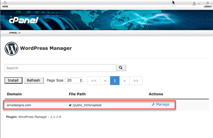 select domain then click on Manage