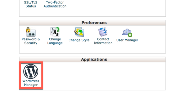 select the WP Manager in cPanel