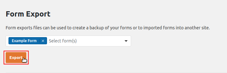 Form Export Export button highlighted