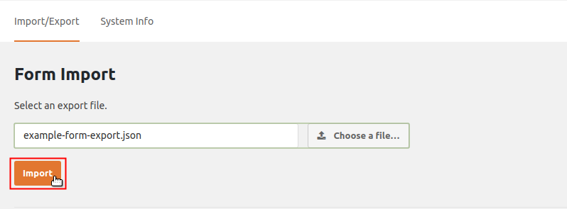 Form Import Import button highlighted