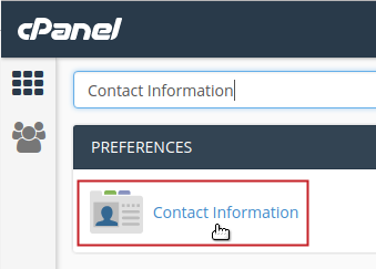 cPanel Preferences Contact Information icon highlighted