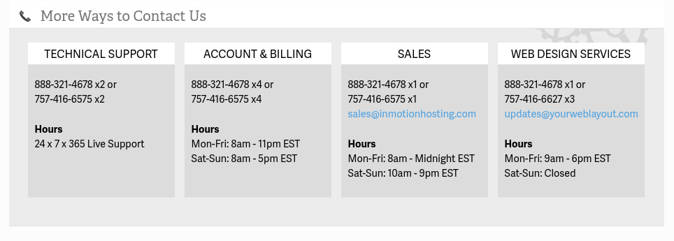Additional contact information as displayed on AMP's Get Support page