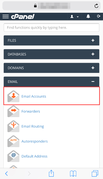cPanel Email section Email Accounts icon highlighted