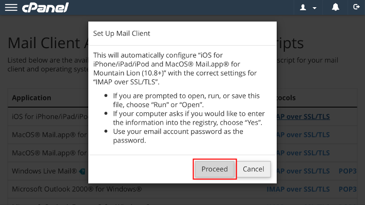 Set Up Mail Client pop-up Proceed button highlighted