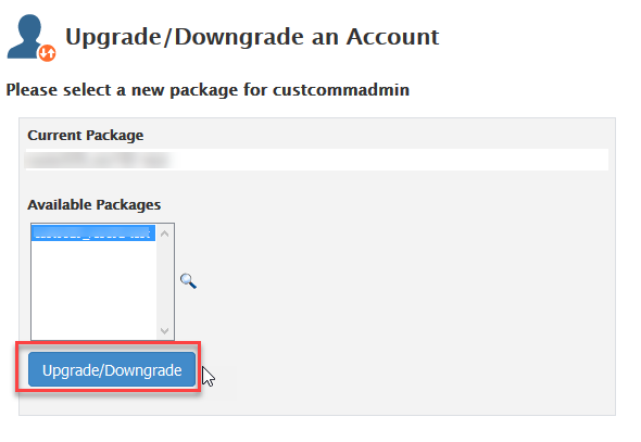 Click on Upgrade/Downgrade to apply change