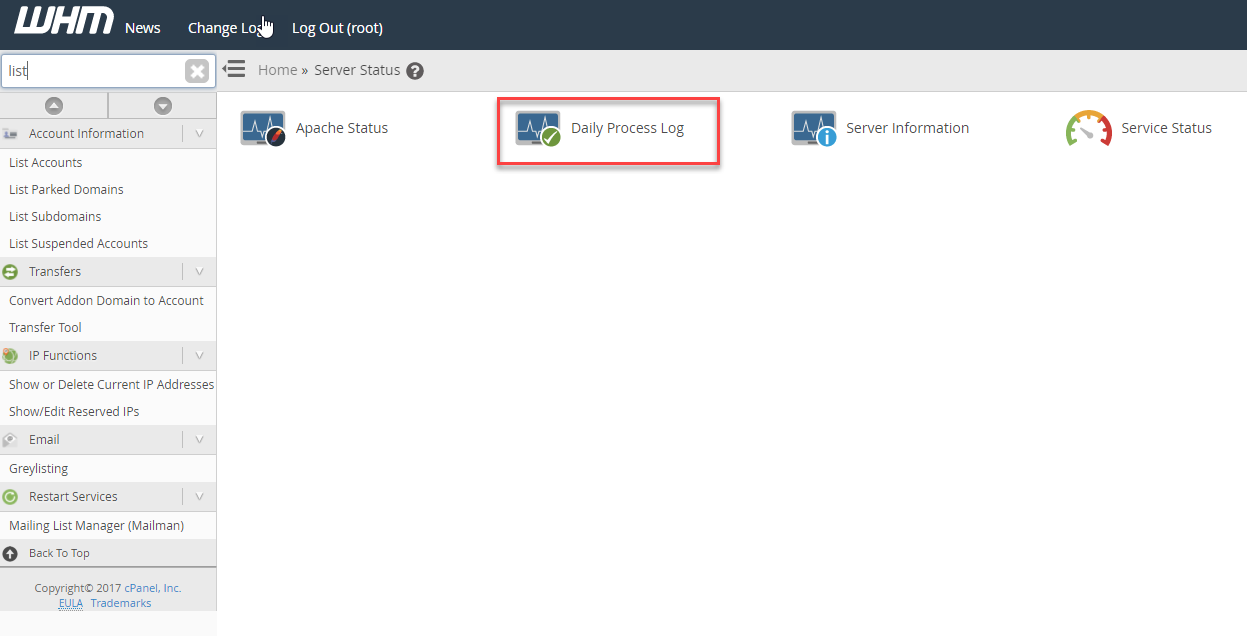 Click on Service status icon