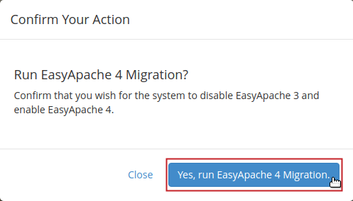 EasyApache 4 Yes, run EasyApache 4 Migration button highlighted