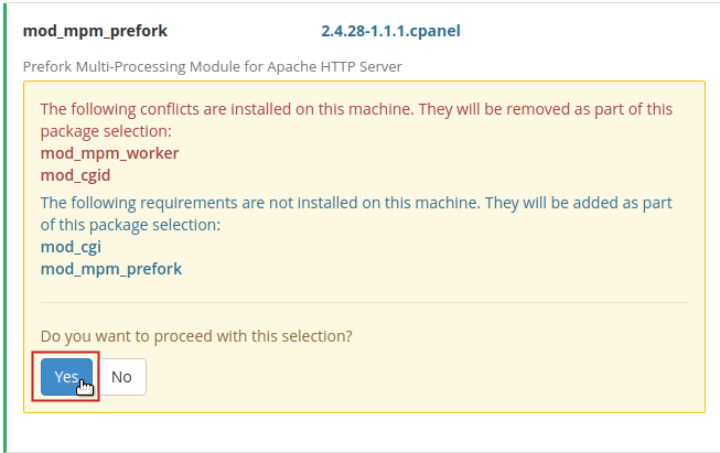 Apache Module conflict warning message Yes button highlighted