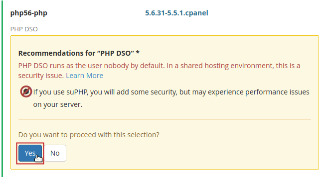 PHP Extensions conflict warning message, Yes button highlighted