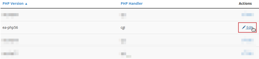 PHP Version list Edit button highlighted next to ea-php56