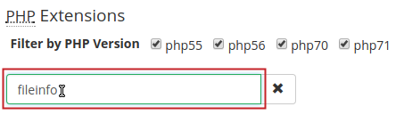 EA4 PHP Extensions Search field, fileinfo entered and highlighted
