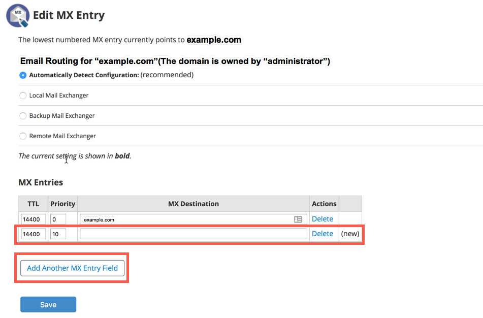 How to change your MX Records using the Web Host Manager