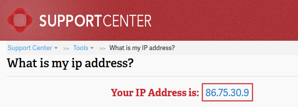 Your IP Address tool displaying IP 86.75.30.9