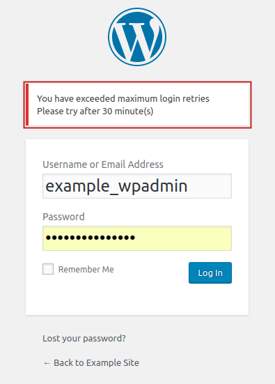 WordPress login page displaying default lockout error message: You have exceeded maximum login retries Please try after 30 minute(s)