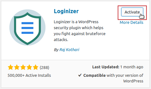 Add Plugins: Loginizer Activate button highlighted