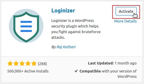 Add Plugins: Loginizer Activate button highlighted