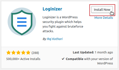 Add Plugins: Loginizer by Raj Kothari Install Now button highlighted