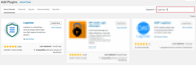 Add Plugins: loginizer in search field highlighted