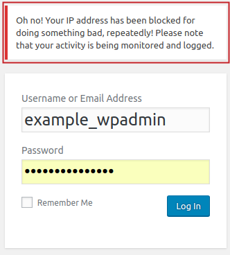 Custom Error Message example displayed for blacklisted IP on WordPress admin login page