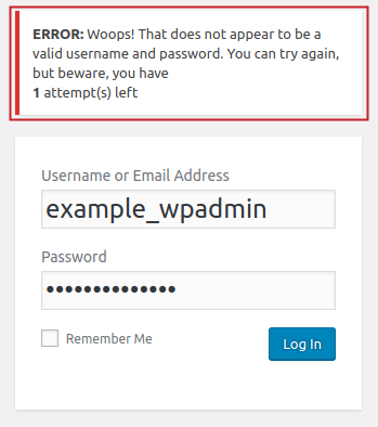 Custom Error Message example displayed on failed login attempt on WordPress admin login page
