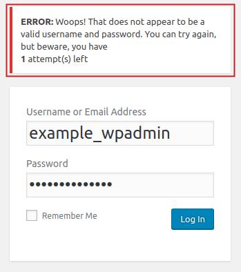 Custom Error Message example displayed on failed login attempt on WordPress admin login page