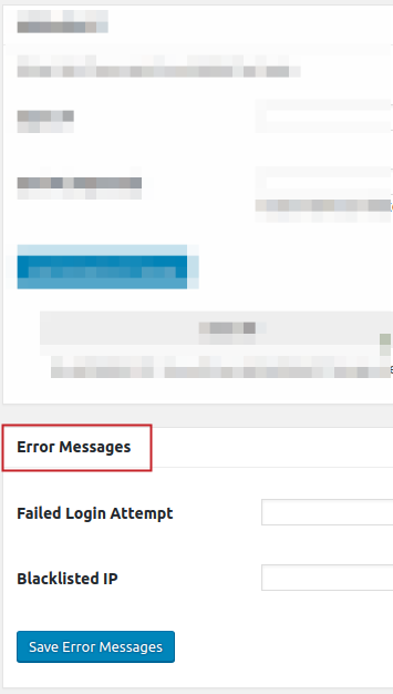 Loginizer Brute Force Settings menu Error Messages section title highlighted