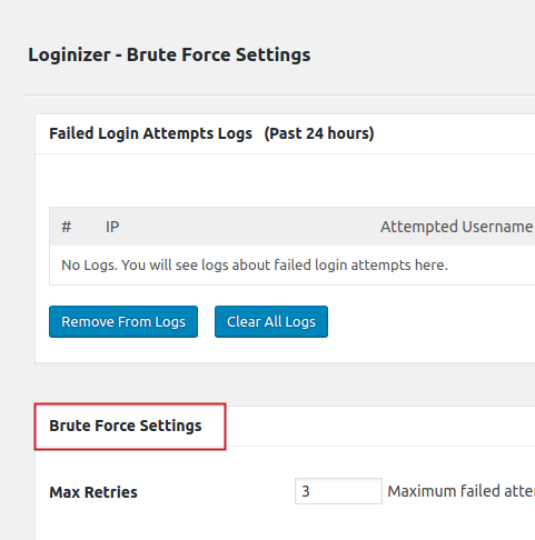 Loginizer Brute Force Settings menu Brute Force Settings section title highlighted
