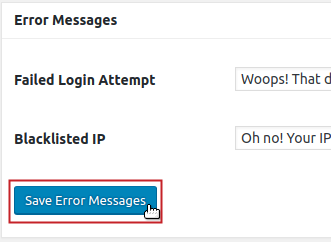 Save Error Messages button highlighted
