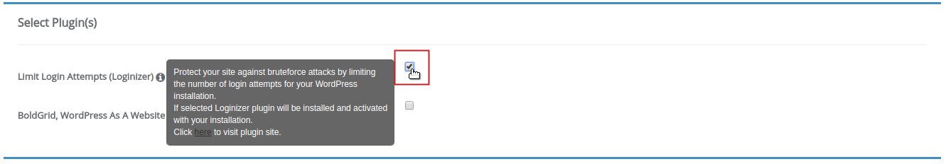 Softaculous Limit Login Attempts Loginizer checkbox checked and highlighted