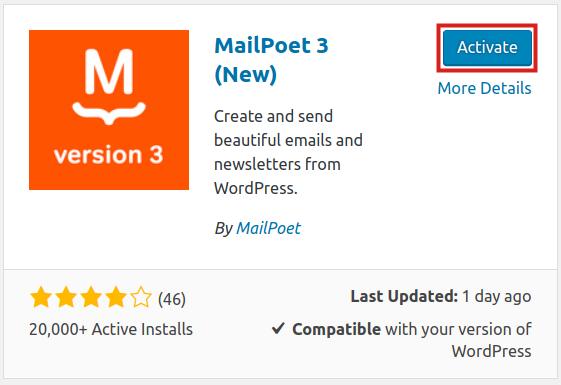 wordpress plugins mailpoet activate mailpoet 3