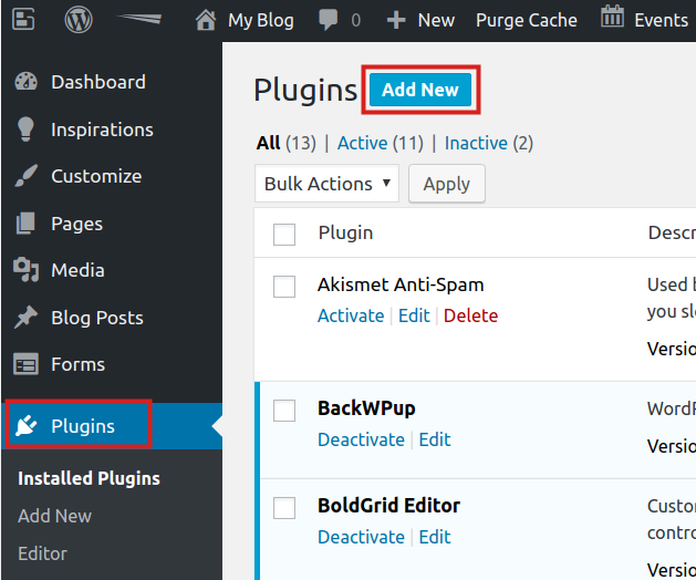wordpress plugins mailpoet add new plugin