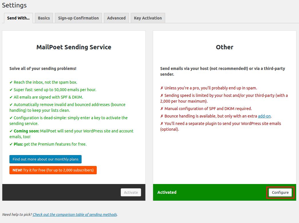wordpress plugins mailpoet configure send settings