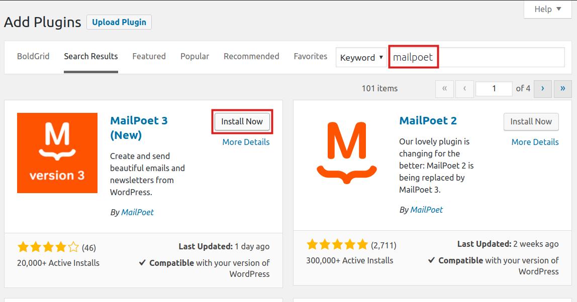 wordpress plugins mailpoet mailpoet install now