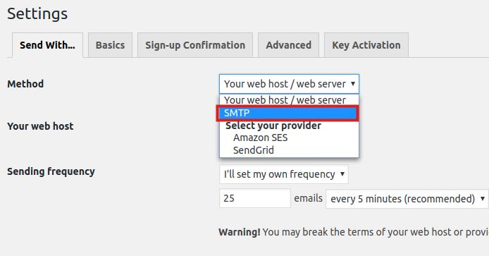 wordpress plugins mailpoet smtp settings