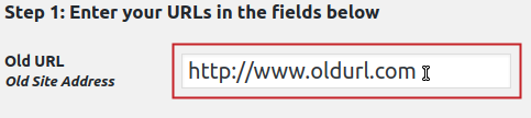 Old URL field highlighted