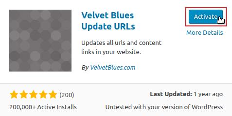 Add Plugins: Velvet Blues Update URLs Activate button highlighted