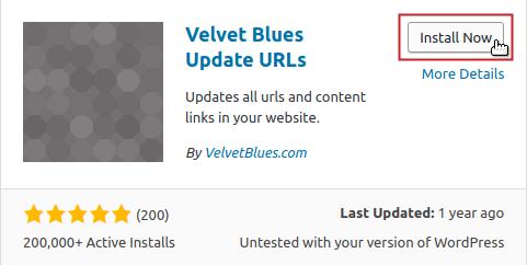 Add Plugins: Velvet Blues Update URLs by VelvetBlues.com Install Now button highlighted