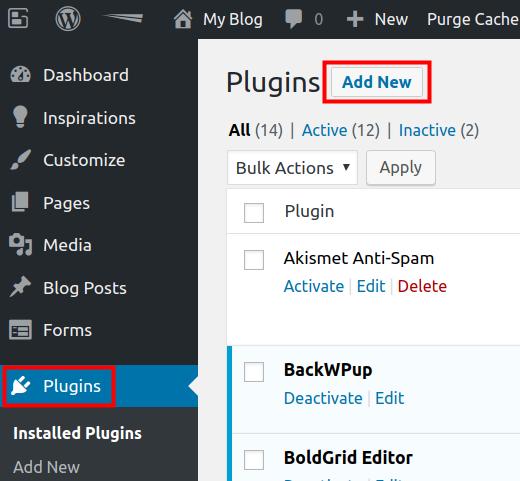 wordpress add new plugins