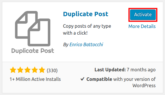 wordpress duplicate post activate duplicate post plugin