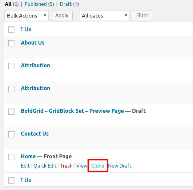 wordpress duplicate post cloning a page