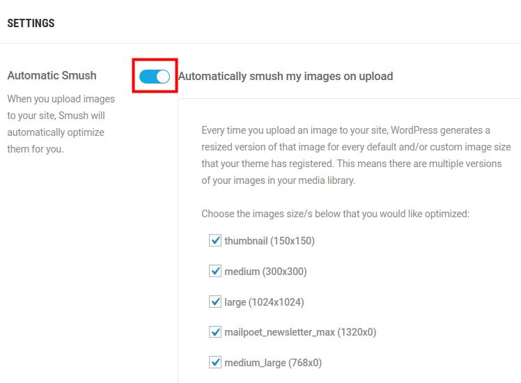 wordpress optimize compress images automatic smush