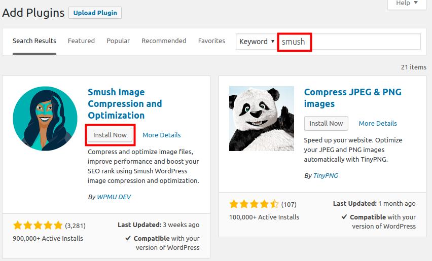 wordpress optimize compress images install smush