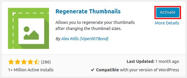 wordpress regenerate thumbnails activate regenerate thumbnails plugin