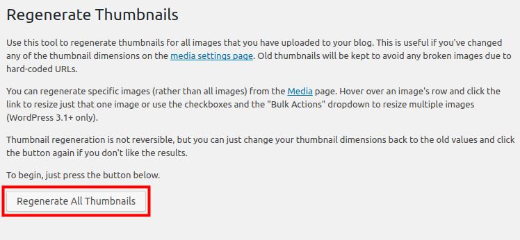 wordpress regenerate thumbnails regenerate all thumbnails