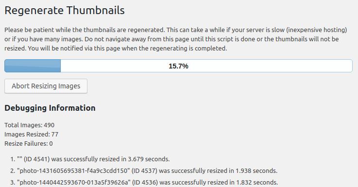wordpress regenerate thumbnails regenerating thumbnails